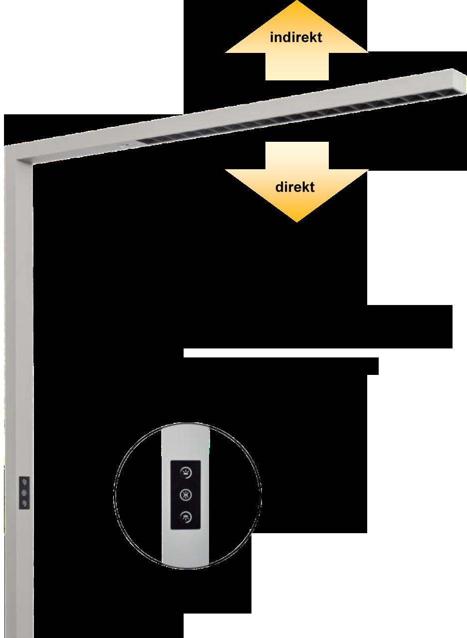 LEDAXO LED-Arbeitsplatzleuchte AL-08-80 direkt/indirekte Abstrahlung separat steuerbar per Touch-Panel
