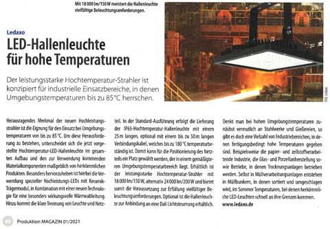Presseveröffentlichung Produktion Magazin Ausgabe 1/2021 Seite 52
