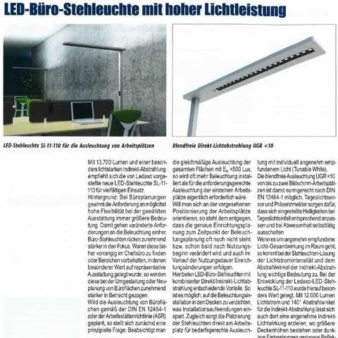 Presseveröffentlichung Haus+Elektronik - LED-Büro-Stehleuchte mit hoher Lichtleistung, Ausgabe 2-2021, Seite 32