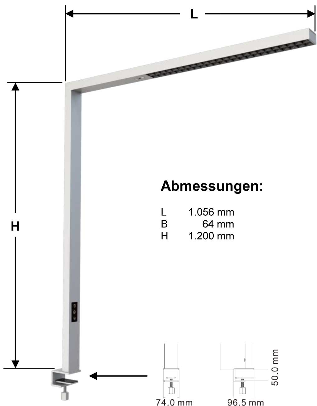 LEDAXO LED-Arbeitsplatzleuchte AL-06 Abmessungen