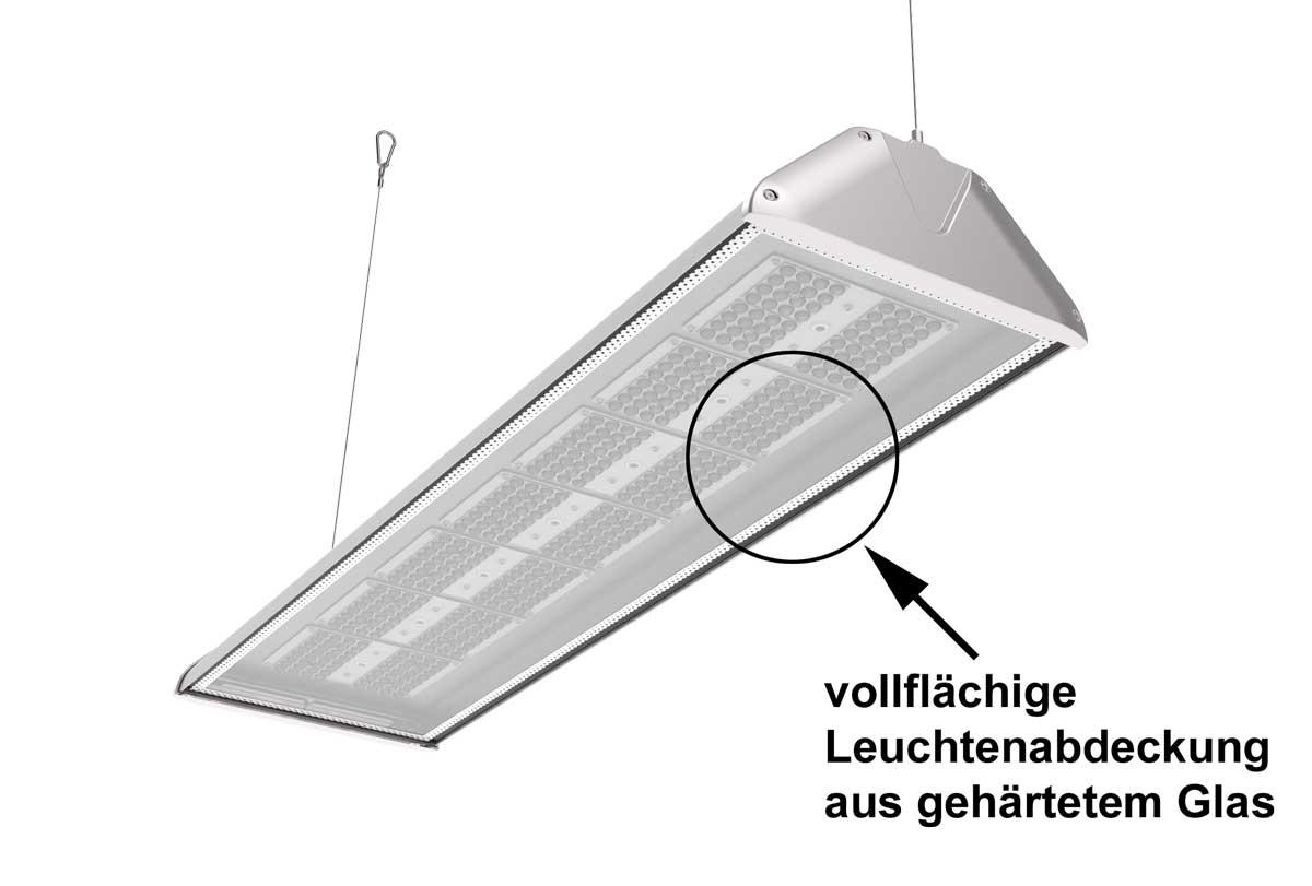 LEDAXO LED-Hallenleuchte HL-06-200 mit vollflächiger Leuchtenabdeckung aus gehärtetem Glas
