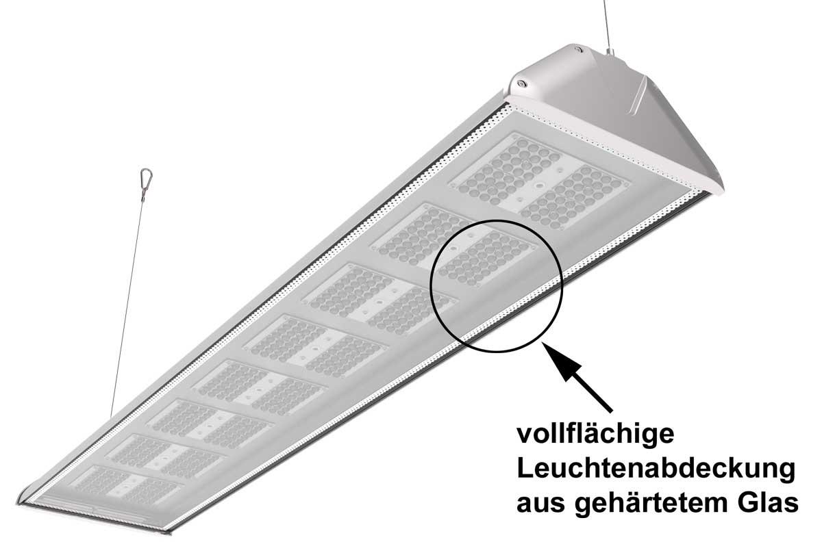 LEDAXO LED-Hallenleuchte HL-06-240 mit vollflächiger Leuchtenabdeckung aus gehärtetem Glas