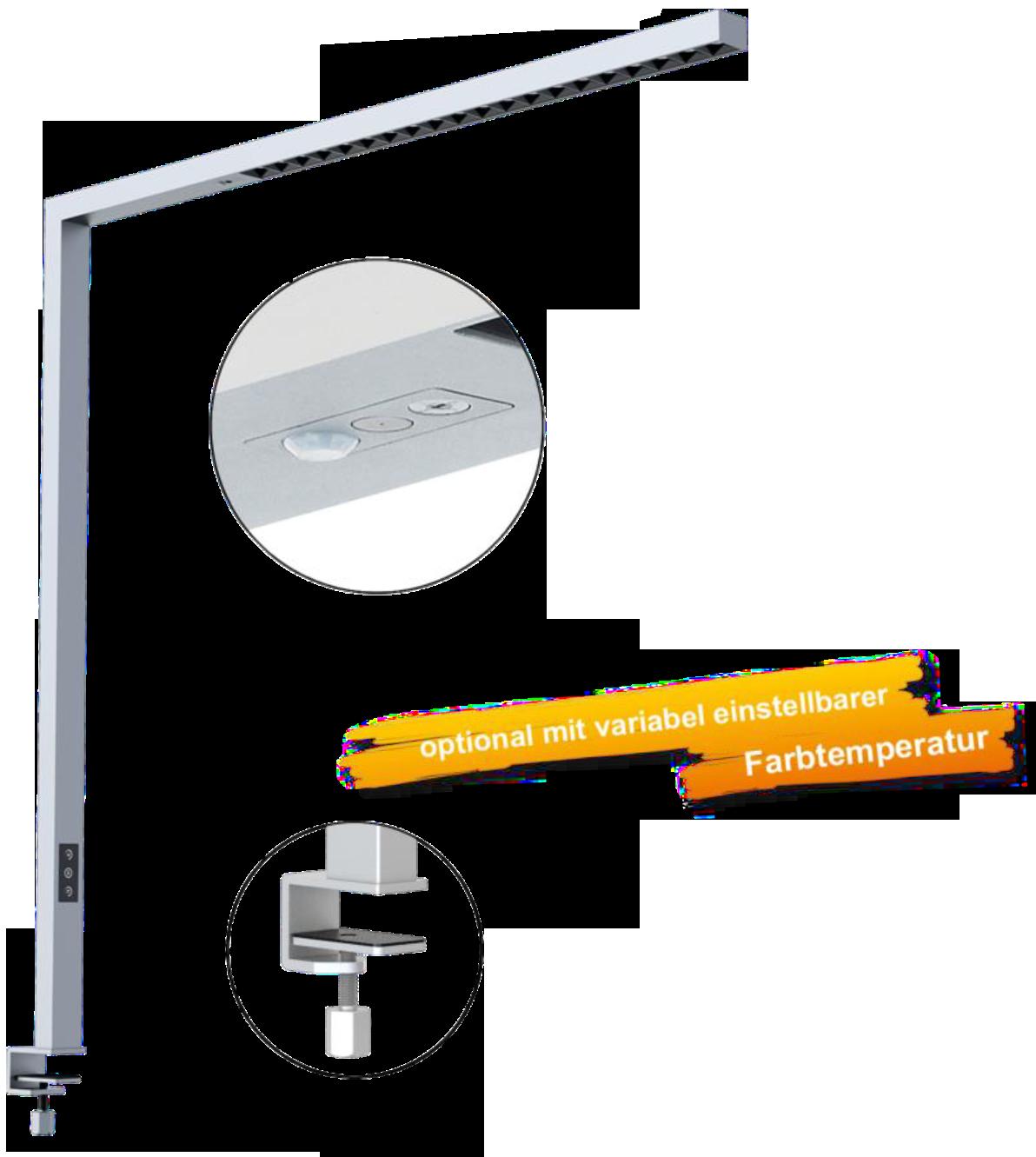 LEDAXO LED-Arbeitsplatzleuchte AL-08-80 mit stabiler Tischklemmung