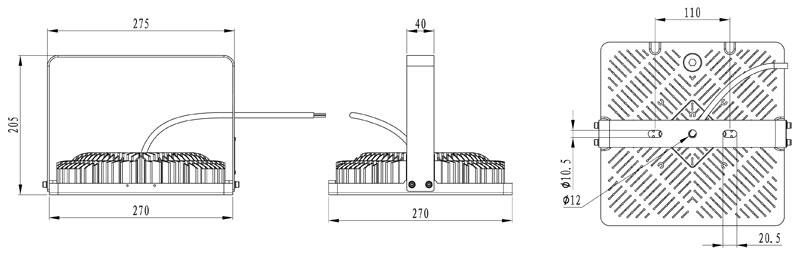 Abmessungen LEDAXO LED-Hochtemperaturstrahler HL-05-T85
