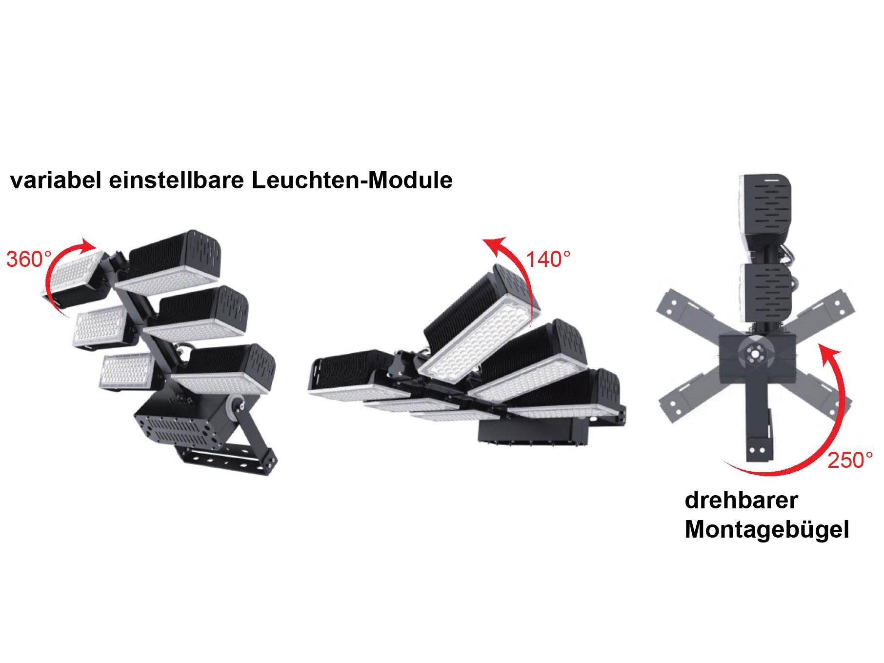 LEDAXO LED-Universalstrahler HRS-08 mit variabel einstellbaren Leuchten-Module