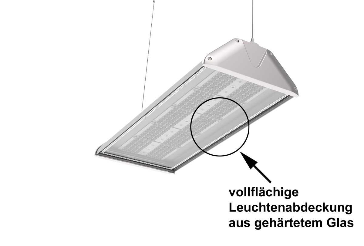 LEDAXO LED-Hallenleuchte HL-06-150 mit vollflächiger Leuchtenabdeckung aus gehärtetem Glas