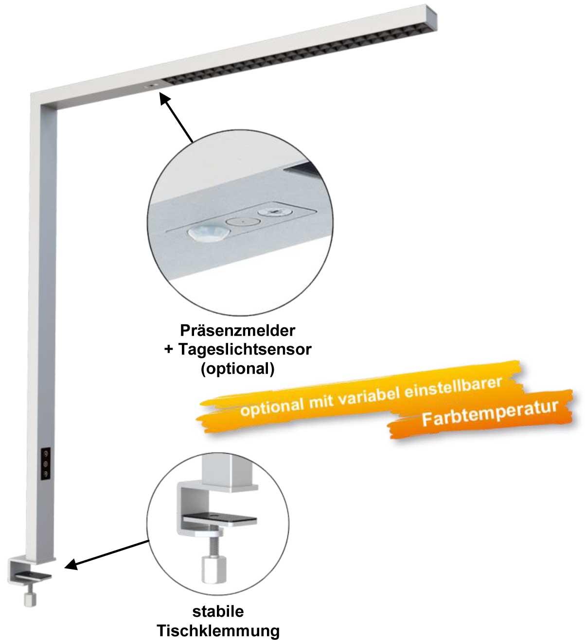 LEDAXO LED-Arbeitsplatzleuchte AL-06 mit stabiler Tischklemmung