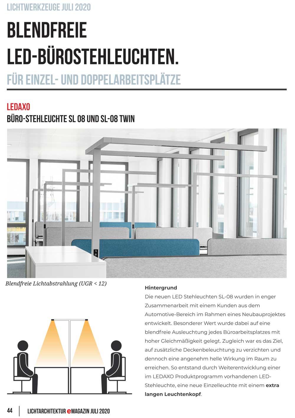 Presseveröffentlichung Luxlumina Lichtarchitektur eMagazin, Ausgabe Juli 2020, Seite 44