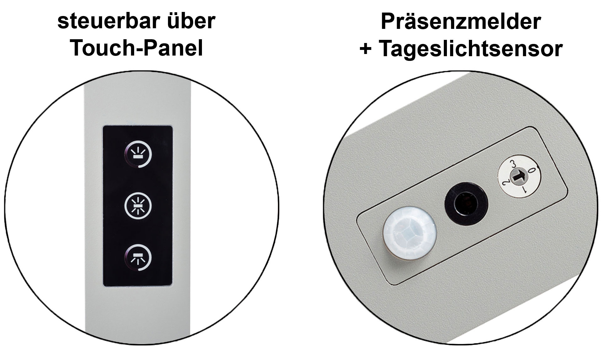 LEDAXO LED-Stehleuchte n/Arbeitsplatzleuchten einstellbar über Touch-Panel und inkl. Präsenzmelder + Tageslichtsensor