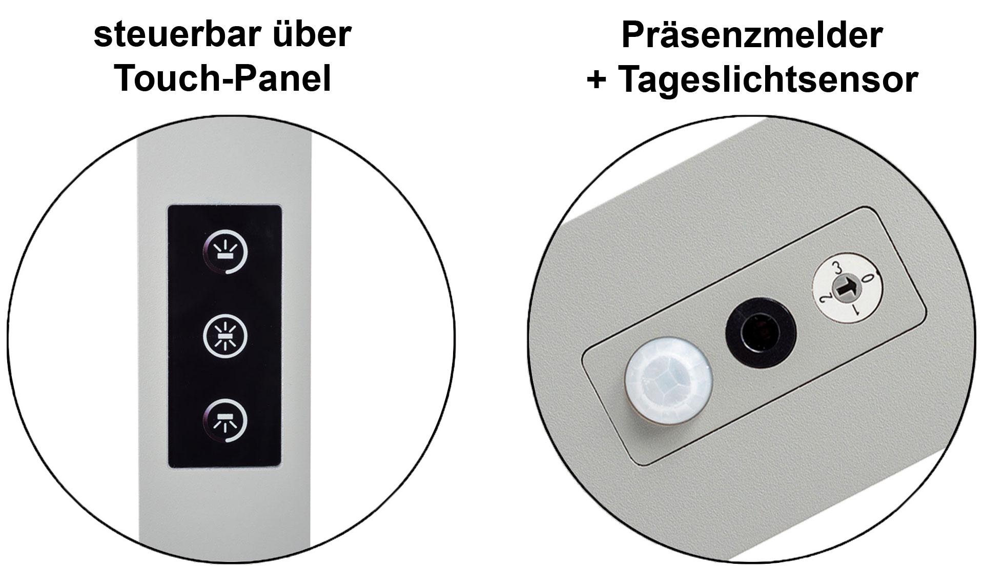 LEDAXO LED-Stehleuchte einstellbar über Touch-Panel und inkl. Präsenzmelder + Tageslichtsensor